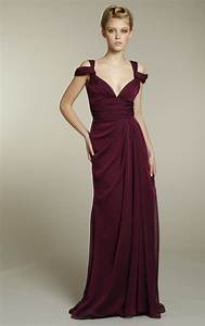 Long chiffon bridesmaids dress in rich maroon color for Maroon wedding dress