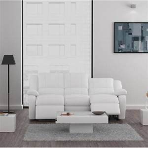 Relax canape 3 places relaxation cuir et simili blanc for Canapé relax cuir blanc 2 places