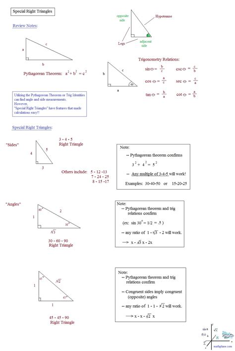new special right triangles worksheet with answers