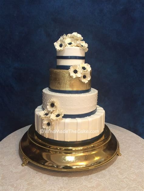 navy gold anemone wedding cake  wwwwhomadethecakecom