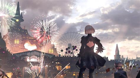 nier automata carnival wallpaper cat  monocle