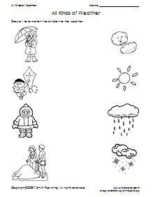 all kinds of weather matching worksheet supplyme
