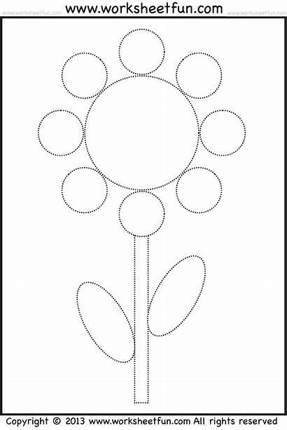Tracing Coloring Worksheets Worksheet Flower Shape Preschool