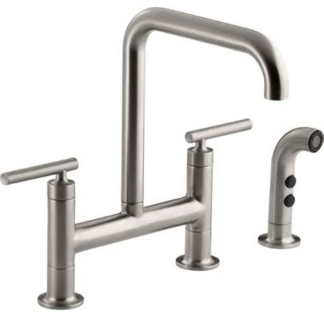 kohler k 7548 4 purist double handle bridge kitchen faucet