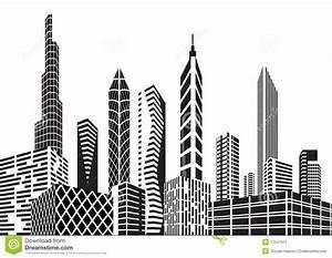 Black and white city stock vector. Image of skyscraper ...
