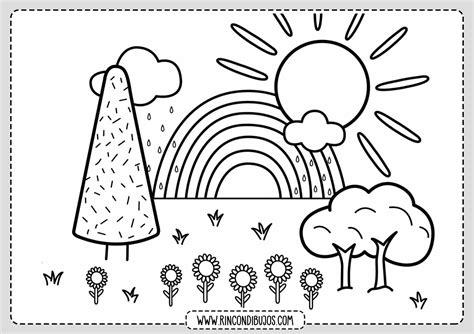 Dibujo de Paisaje Facil para colorear Rincon Dibujos
