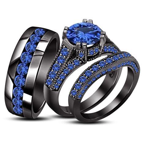 blue sapphire black gold pl  silver   trio