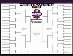 Printable Women39s NCAA Tournament Bracket 2018