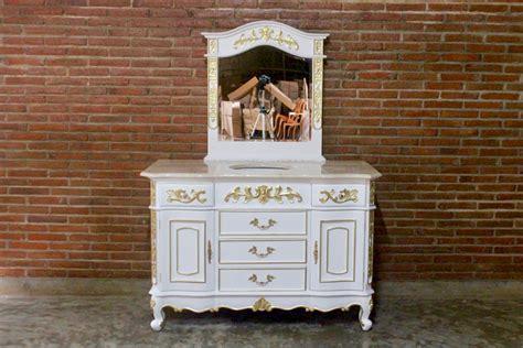 Barock Waschtisch Vanity Antik-weiß Mit Goldenem Dekor Und