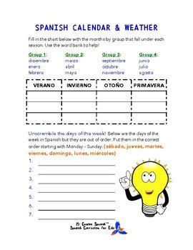 spanish worksheets calendar weather by mi camino