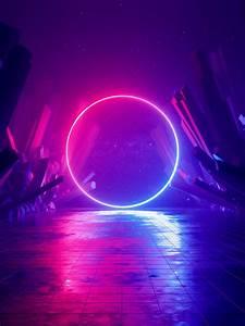 Neon, Light, Wallpaper, 4k, Ring, Huawei, Mediapad, Stock, Sci