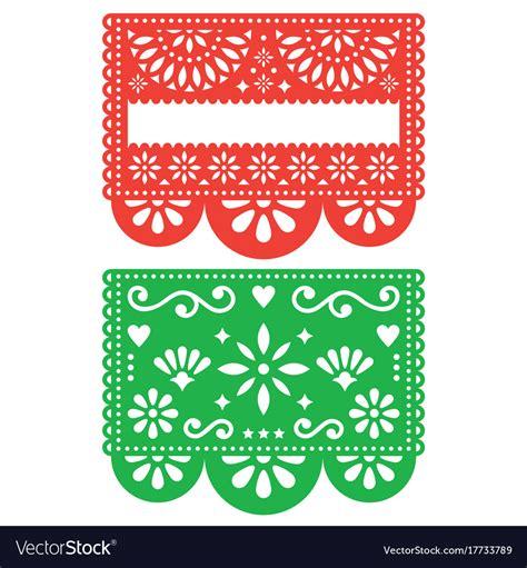 Papel Picado Template Mexican Papel Picado Template Design Set Vector Image
