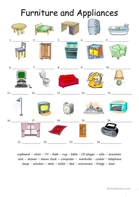 furniture  applicances matching worksheet  esl