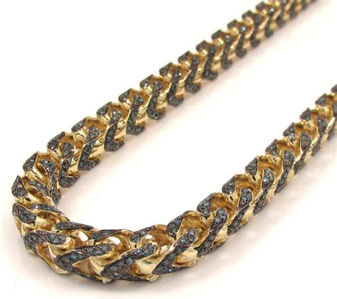 solid yellow gold fully iced blue diamond franco chain