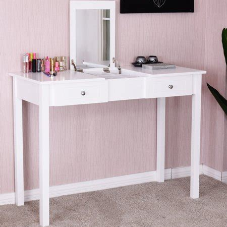 Vanity Table With Mirror And Drawers by Costway Vanity Table Dressing Table Flip Top Desk Mirror 2