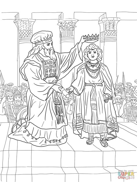 King Joash Crowned Coloring Page Free Printable Coloring