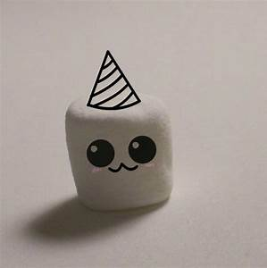 Cute marshmallow o 3o ....with party hat by JellyCatMatt ...