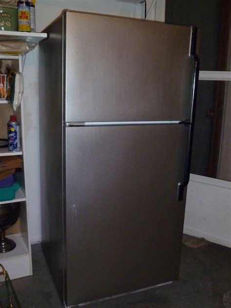 how to make your fridge look like a cabinet paint your white fridge to make it look like stainless steel