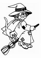 Witch Coloring Pages Witches Printable Drawing Broom Cat Getcoloringpages Clipartmag Macbeth sketch template