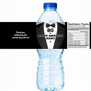 80th birthday party water bottle labels tuxedo formal With 80th birthday water bottle labels