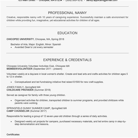 nanny resume and cover letter exles
