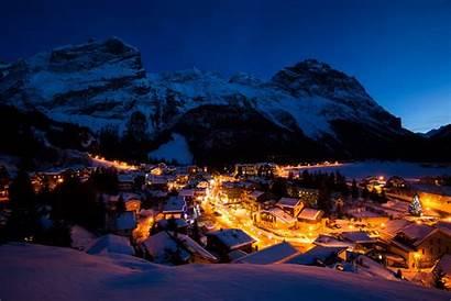 Night Winter Mountain Snow Village Lights Alps