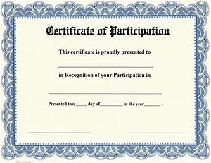 Certificate Of Participation Template Free Printable Participation Templates Certificate Templates