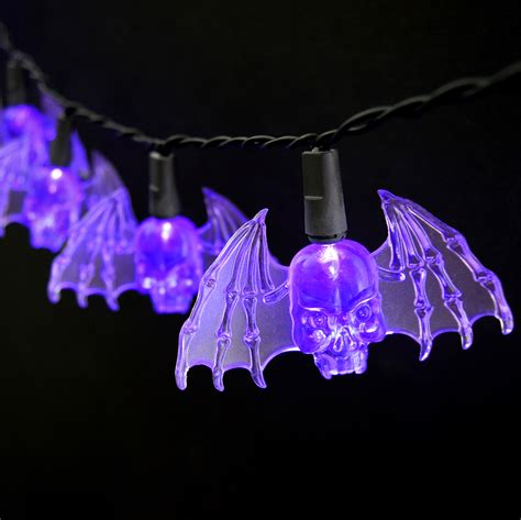 halloween string lights purple bat led string lights battery operated