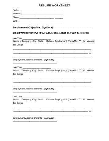 Chronological Resume Worksheet by Resume Professional Profile Qualifications Summary Worksheet