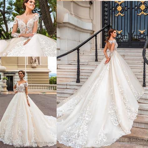 2018 stunning designer wedding dresses with sheer long