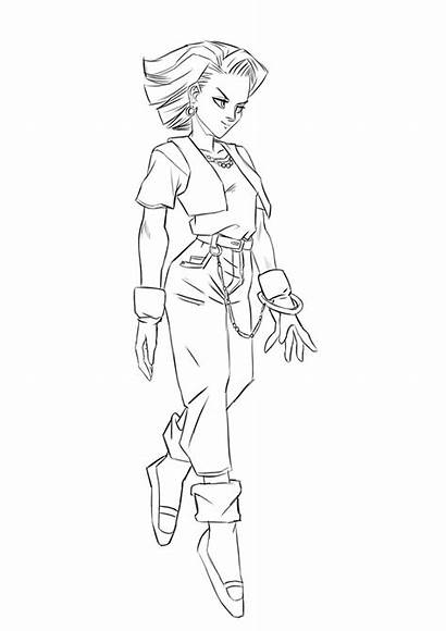 Android Dbz Sketch Coloring Pages Step Android18