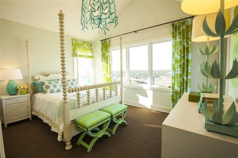 Turquoise And Green Girl's Room  Contemporary Girl's