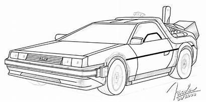 Delorean Sketch Future Coloring Pages Deviantart Marty