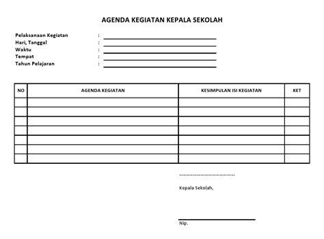 buku agenda kegiatan kepala sekolah sekolah dasar negeri