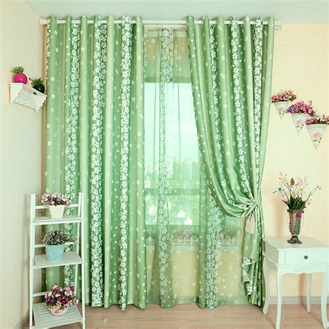 green small floral print curtains rustic curtain bedroom