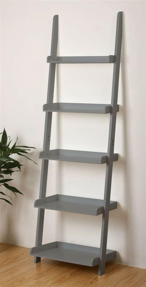 Leaning Shelf by 5 Tier Leaning Wall Shelf Ladder Shelf In Grey Ebay