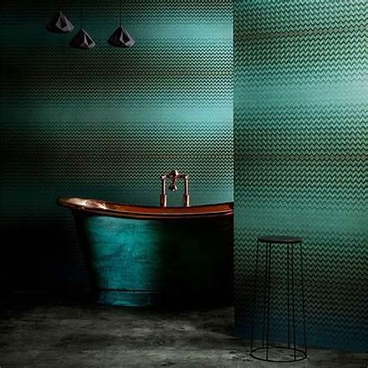 Anthology Modulate Copper Behang Library Bathroom Dark