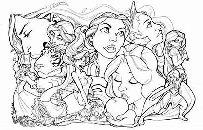 Disney Princess Lineart Princesses Deviantart Comfortlove Coloring