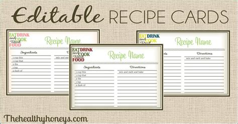 real food recipe cards diy editable  healthy honeys