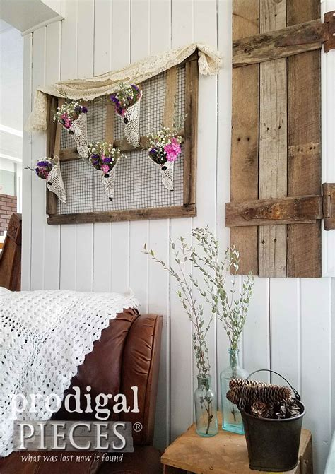Rustic Chic Home Decor - rustic farmhouse wall from flea market finds