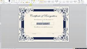 Certificate Border Word How To Create A Certificate In Ms Word Youtube