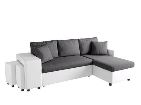 canapé et pouf canapé d 39 angle convertible en lit avec poufs oslo gris blanc