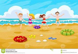 Children At The Beach, Illustration Stock Vector - Image ...