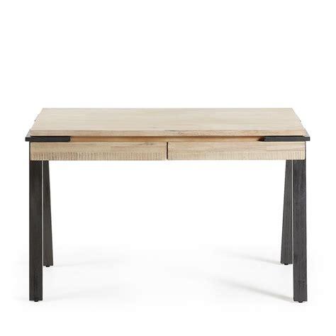 bureau metal et bois bureau design bois et métal 125x60 2 tiroirs spike by drawer