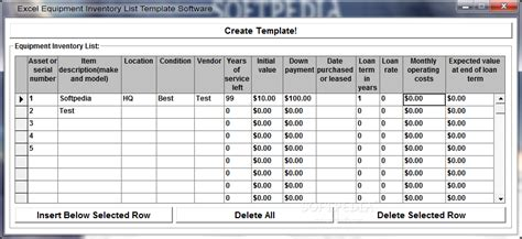 excel equipment inventory list template software