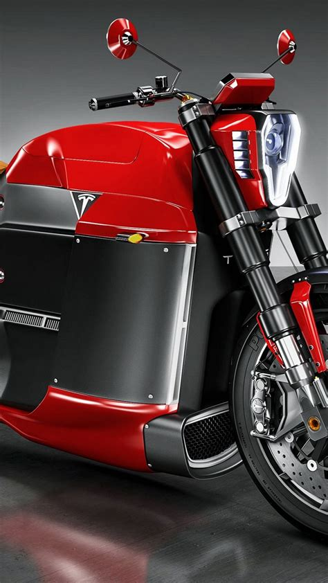 wallpaper tesla model  electric motorcycle red