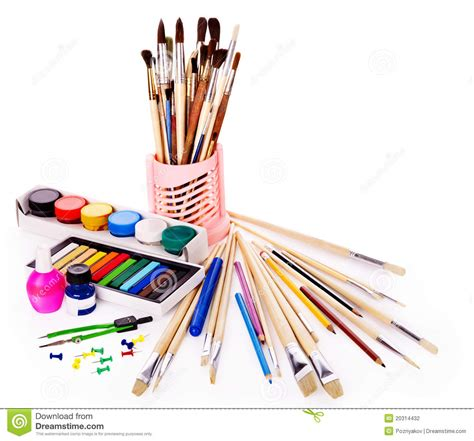 school art supplies stock photography image