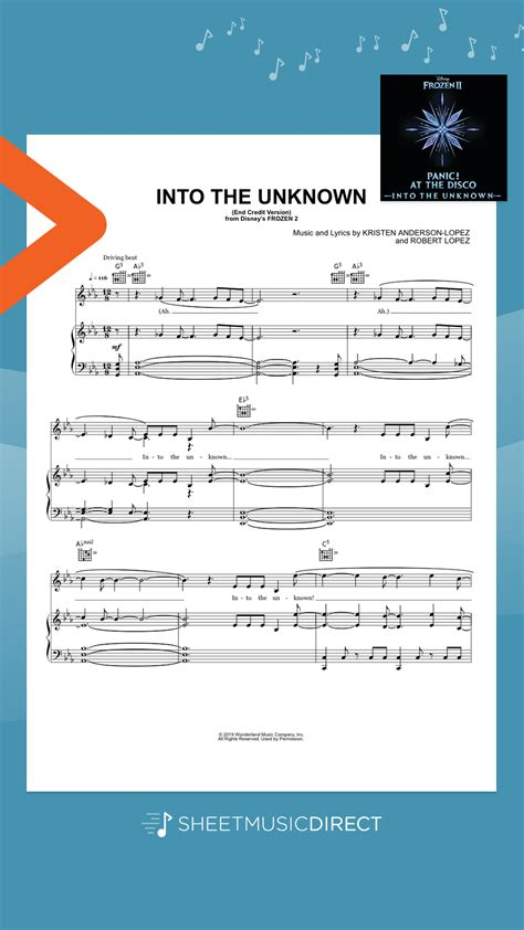 Enjoy our free piano sheet music collection. Into The Unknown (from Disney's Frozen 2) by Panic! At The Disco Piano, Vocal & Guitar (Right ...