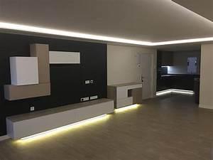 Salon Comedor moderno con foseado de los led en el techo Salon Comedor Moderno con luz