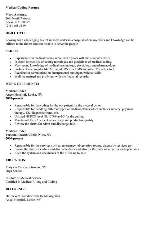 medical coding resume httpresumesdesigncommedical